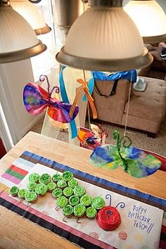 The Very Hungry Caterpillar birthday party for kids. All the decor was made by kids! #Carle