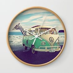 NEVER STOP EXPLORING THE BEACH Wall Clock by Monika Strigel