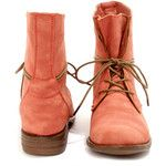 Wanted Leroy Coral Burnished Lace-Up Mid-Calf Boots $57