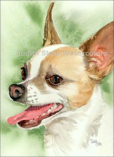 CHIHUAHUA Fawn Chi Toy Dog 11x15 Giclee Watercolor by k9stein, $40.00