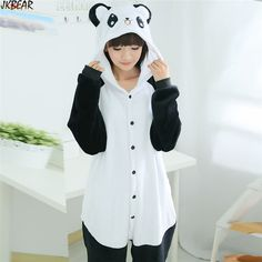 Online Shop Hot-sale Cute Panda Onesie Pajamas Costume for Women Flannel  Unisex Funny Animal Onesies for Teenagers and Adults Plus Size S-XL 13746d010