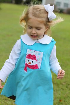 Girls Snowman Appliqued Turquoise Corduroy Jumper by InletKids, $48.00