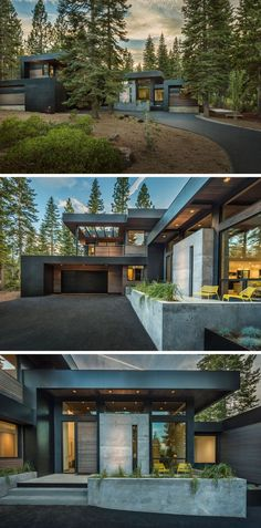 - Rectangular Forms - Charcoal Siding - Exterior Lighting - Use of concrete - Garage - Entryway