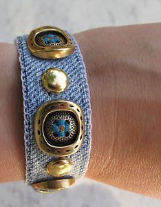 ideas for diy bracelets fabric Jewelry Crafts, Jewelry Art, Beaded Jewelry, Handmade Jewelry, Jewelry Design, Jewellery, Denim Bracelet, Fabric Bracelets, Ankle Bracelets