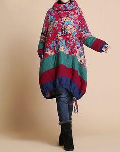 Stampato cappotto imbottito di inverno sciolto / di MaLieb su Etsy