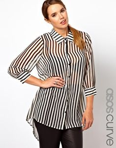 ASOS CURVE Exclusive Shirt In Stripe