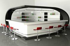 un bar en blanc et noir, desihn futuristique, chaises rouges de bar