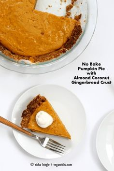 This No Bake Vegan Pumpkin Pie with Gluten-free Gingerbread Crust is easy to put together and is perfect with whipped coconut cream. Soy-free Holiday Recipe
