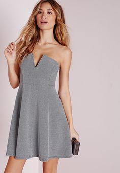 Missguided - Skater Dress Silver