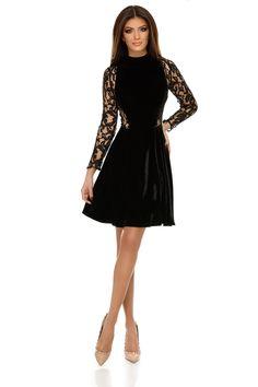 Rochie Natalia Neagra - Puține ținute pot fi mai elegante și mai seducătoare decât o rochie scurtă din catifea, cu mâneci și inserții laterale din dantelă delicată, care te învăluie într-un aer misterios și senzual absolut irezistibil. Rochia de seară Natalia îmbină două texturi sofisticate, de o finețe deosebită, într-un design modern și stilat care-ți evidențiază silueta într-o manieră impecabilă. Fusta croită în cloș adaugă vitalitate ținutei, iar detaliile semitransparente laterale, din… All Things, Dresses With Sleeves, Long Sleeve, Skirts, Black, Fashion, Vestidos, Moda, Skirt