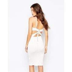 NaaNaa Cross Front Body-Conscious Midi Dress With Cut Out Back ($51) ❤ liked on Polyvore featuring dresses, cream, white cutout dress, midi dress, bodycon dress, tall dresses y white cut out dress