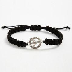 Knyttet armbånd med Peace tegn i sølv