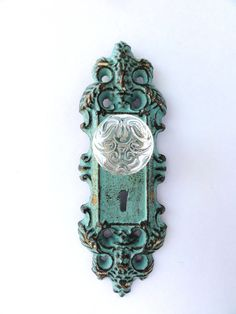 Aqua  Vintage Inspired Decorative Cast Iron Door Plate With Key Hole And  Glass Knob