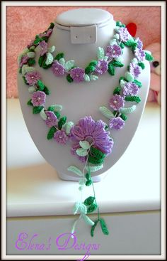 Necklace Lariat Crochet Spring Flowers