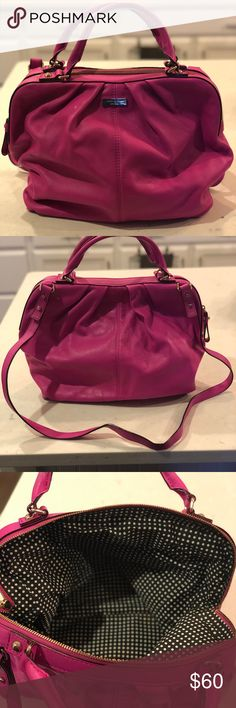 Kate Spade Handbag Fuchsia Excellent Condition Excellent Condition Authentic Kate Spade Handbag Fuchsia with Shoulder Strap.   Note small mark on back of bag kate spade Bags Crossbody Bags