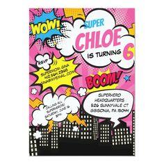 Girl Superhero Party, Superhero Birthday Invitations, Art Birthday, Birthday Cards, Birthday Ideas, Surprise Birthday, Birthday Gifts, Pop Art Party, Party Fun