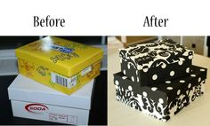 Now I know what to do with all of the shoe boxes I keep in case I need them:)  I never used to keep my shoe boxes because we had racks put into our closets for shoes.  This is such a great idea for any kind of box with a lid.  Love the after picture.