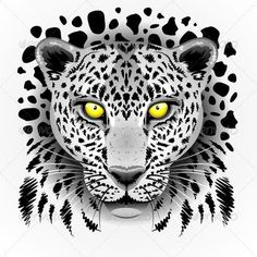 White Leopard with Yellow Eyes - Animals Characters