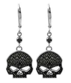 Harley-Davidson® Women's Black Bling Willie G Skull Dangle Earrings HDE0283