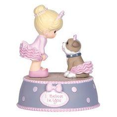 """Precious Moments Musical Figurine plays /""""Clair de Lune/"""" rotating ballerina"""