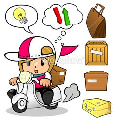 stock-illustration-22252253-businesswoman-delivery-on-scooter.jpg (366×380)