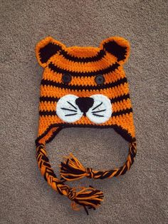 Crochet Tiger Animal Hat or Beanie (looks like hobbes)