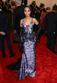 Most of the 2013 Met Gala attendees struggled with the punk-themed dress code (red carpet events don't usually call for so many studs and spikes), but Washington nailed it. From the purple-and-black color combo of her Vera Wang gown to the extra-long black leather gloves, she struck just the right balance of punk and pretty.