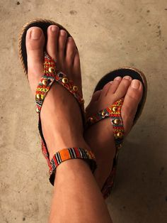SALE Embroidery sandals beaded ethnic orange by realmlistic, $56.00