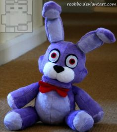 THIS IS A MADE TO ORDER PLUSH TOY ( 3-4 WEEKS ) Description I want to present you Bonnie from Five Nights At Freddys I've been passionate about plush toys all of my life and I wanted bring them to life. Description Bonnie ۞ He is made from highest quality, super soft minky fabric. ۞He is stuffed with poly fill and poly pellets. ۞Bonnie measures about 14inches when stand. ۞He can stand by own. A toy is handcrafted by myself and has both hand and machine-sewn details. Please be aware !...