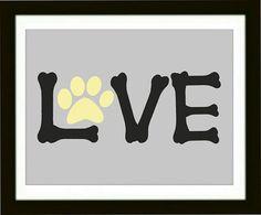 Dog Paw Art Print, Word Love Artwork, Pet room Decor, Dog Lover Gift, Modern Wall Decor