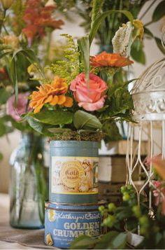 floral arrangements in vintage tins & jars