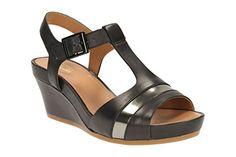 Clarks Damen Freizeit Clarks Rusty Rebel Leder Sandalen In Schwarz Größe 37½ - http://herrentaschenkaufen.de/clarks/37-5e-clarks-rusty-rebel-damen-t-spangen-sandalen-5-3