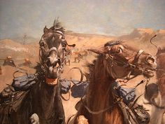 Frederic Remington: Dismounted -- The Fourth Troopers Moving the Led Horses (1890)