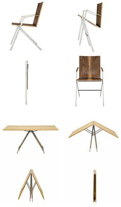 Folding furniture conjures dull images of cheap aluminum legs as easy-to-rip faded vinyl surfaces - something you store out of sight because, frankly, it is Folding Furniture, Multifunctional Furniture, Smart Furniture, Modular Furniture, Space Saving Table, Space Saving Furniture, Cool Chairs, Table And Chairs, Bag Chairs