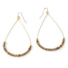 Classic Mixed Metal Disc Teardrop Earrings - Earrings   Vanessa Mooney Jewelry