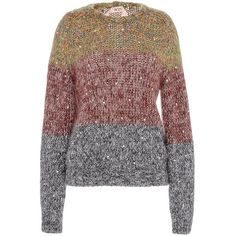 No. 21 Mercede Round Neck Knit (11182355 BYR) ❤ liked on Polyvore featuring tops, sweaters, knit tops, round neck top, knit sweater, knit pullover sweater and sweater pullover