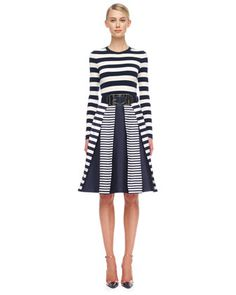LINEAR THINKING: Striped Cashmere Top & Mix-Stripe Shantung Skirt by @Michael Kors