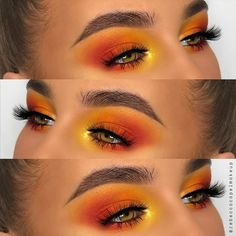 Beautiful Sunrise Eye Makeup created by receccacapelmakeup working with our Playhouse Palette and wearing stunning West End Lashes Vegan Cruelty-Free Anime Eye Makeup, Doll Eye Makeup, Crazy Eye Makeup, Orange Eye Makeup, Neutral Eye Makeup, Hazel Eye Makeup, Creative Eye Makeup, Dramatic Eye Makeup, Eye Makeup Art