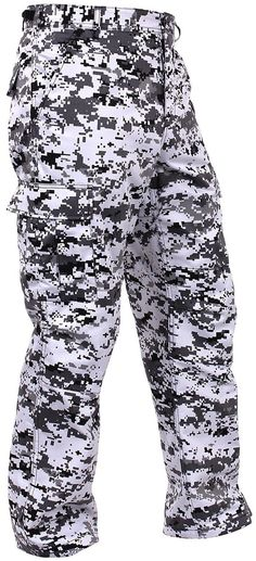 Men's City Digital Camo BDU Cargo Pants - Black & White Camouflage Rothco