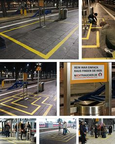 You can't smoke in Germany's train stations except inside the yellow squares. Agency Frankfurt Saatchi & Saatchi was approved by the company who made these squares to make a maze so you can find your way to the ashtray