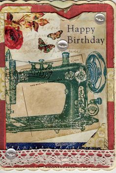 Image from the hunkydory little book, somewhat distressed, button background paper, lace and some buttons added
