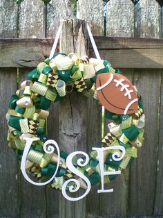 University of South Florida Bulls Ribbon Wreath with Wooden Football and Letters for Tailgating/Birthday Party, or Themed Baby Shower via Etsy