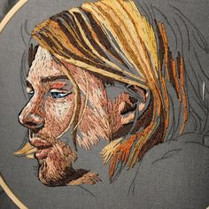 Kurt update. Portrait Embroidery, Hand Embroidery Art, Silk Ribbon Embroidery, Thread Art, Needle And Thread, Textile Artists, Portraits, Face Art, Sewing Crafts