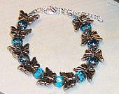 Silver Butterflies and Blue Glass Beaded Bracelet