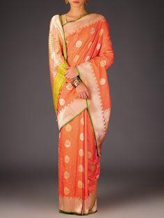 Buy Orange Green Banarasi Silk Kadwa Booti Handwoven Saree By Ekaya Sarees Woven Timeless Treasure Wedding Special Benarasi Online at Jaypore.com
