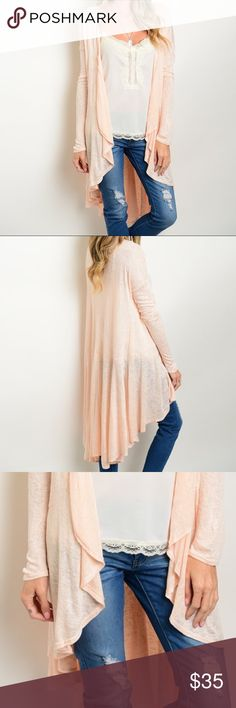 ✨NEW✨Peachy Pink Waterfall Longline Cardigan Thin knit, long sleeve cardigan sweater with a waterfall hemline. Leather and Sequins Sweaters Cardigans