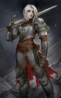 f Fighter Plate Armor Cloak Longsword Mountains Night female underdark lg Fantasy Female Warrior, Female Armor, Female Knight, Fantasy Armor, Fantasy Women, Medieval Fantasy, Fantasy Girl, Woman Warrior, Aasimar Paladin Female