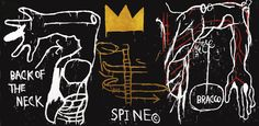 JEAN-MICHEL BASQUIAT BACK OF THE NECK signed and dated 1982; inscribed B.A.T. on the reverse five-color screenprint with hand-coloring on Supra 100 paper 50 3/8 by 101 3/4 in. 128 by 258.4 cm.