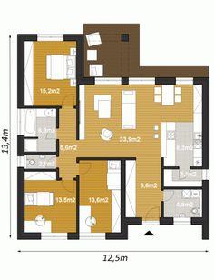 projekt rodinneho domu ELKO110 Apartment Floor Plans, Amazing Spaces, Home Hacks, Soho, Home Projects, My Dream, Tiny House, House Plans, Sweet Home