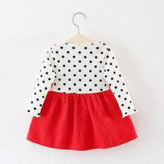 Baby / Toddler Faux-two Polka Dots Bowknot Decor Dress Cotton Dresses, Cute Dresses, Cute Outfits, Baby Girl Patterns, Valentines Outfits, Knot Dress, Gowns With Sleeves, Dress Silhouette, Red Fashion